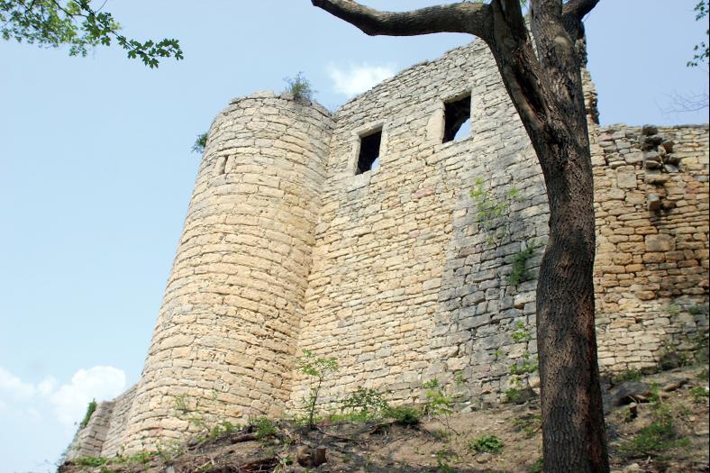 Mauerreste der Gleisbergburg über dem Ort Kunitz.