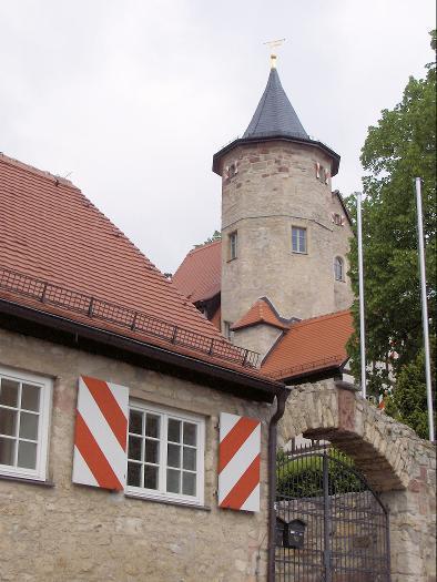 Das Schloss in Lobeda liegt am westlichen Rand der mittelalterlichen Ortsbefestigung.