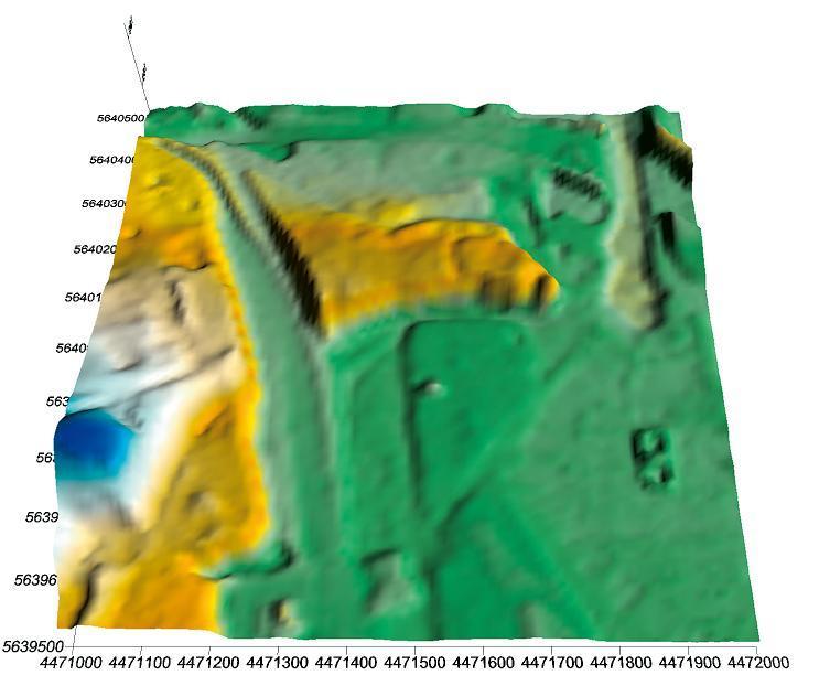 Dieses Geländemodell auf Basis einer Laserscanvermessung zeigt deutlich den umlaufenden Graben der Vorburg.