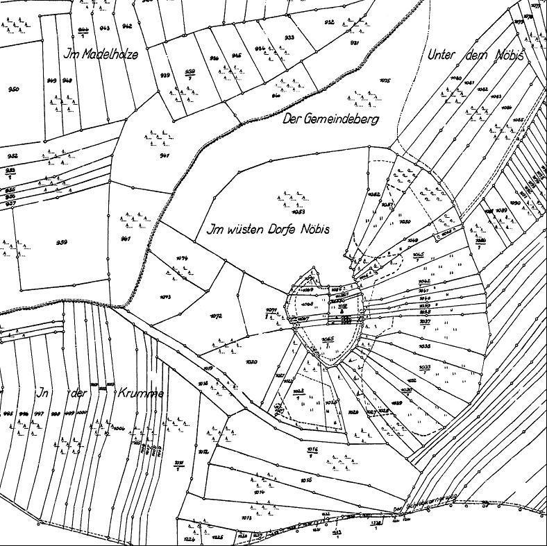 Der Flurkartenausschnitt zeigt deutlich die Lage des Ortes Möbis.