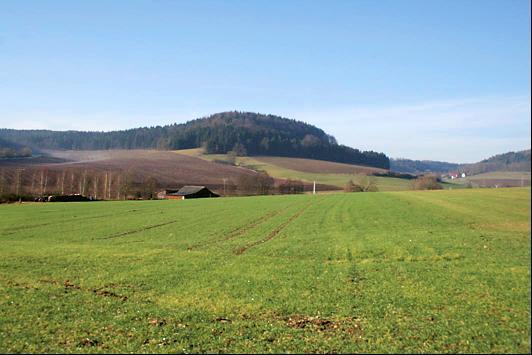 Die Gruber Höhe von Bachfeld aus gesehen. 10_1_Abb2: Vermessungsplan der Wallanlage bei Bachfeld (nach Sesselmann 1963).