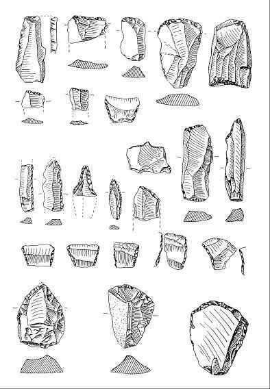 Mittelsteinzeitliche Feuersteingeräte vom Petersberg, darunter sehr kleine steinzeitliche Klingen oder Spitzen, sogenannte Mikrolithen (nach Feustel 1961).