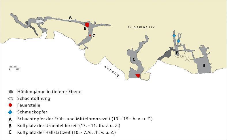 Plan der Höhlen im Kosackenberg.