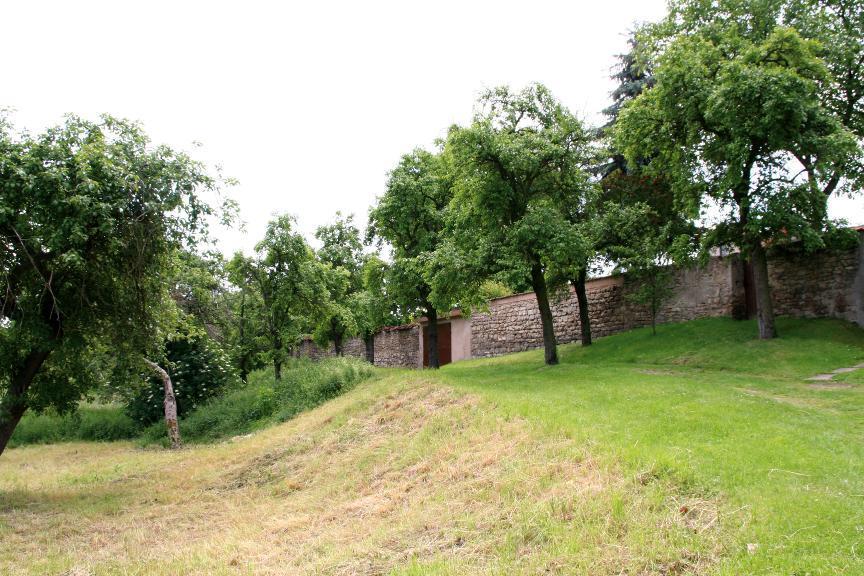 Der Stadtmauer von Clingen ist ein mächtiger Graben vorgelagert.