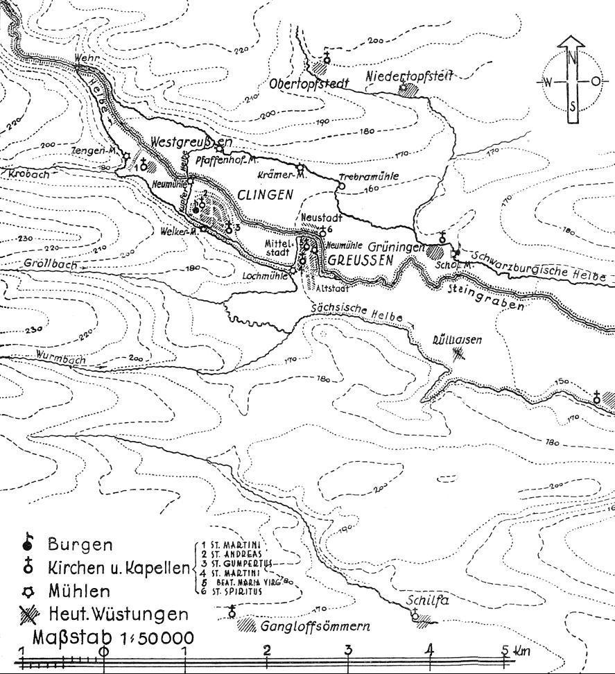Die um 1300 gebauten künstlichen Kanäle des Helbesystems boten der Greußener Stadtbefestigung zusätzlichen Wasserschutz.