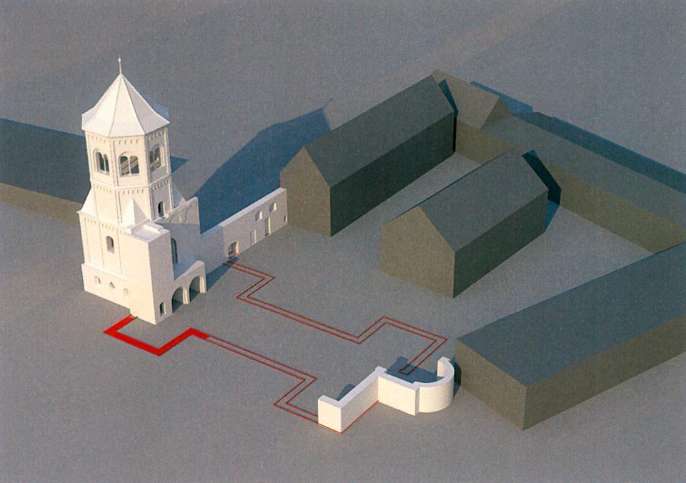 Die Klosterkirche St. Wigbert in Göllingen als 3D-Modell.