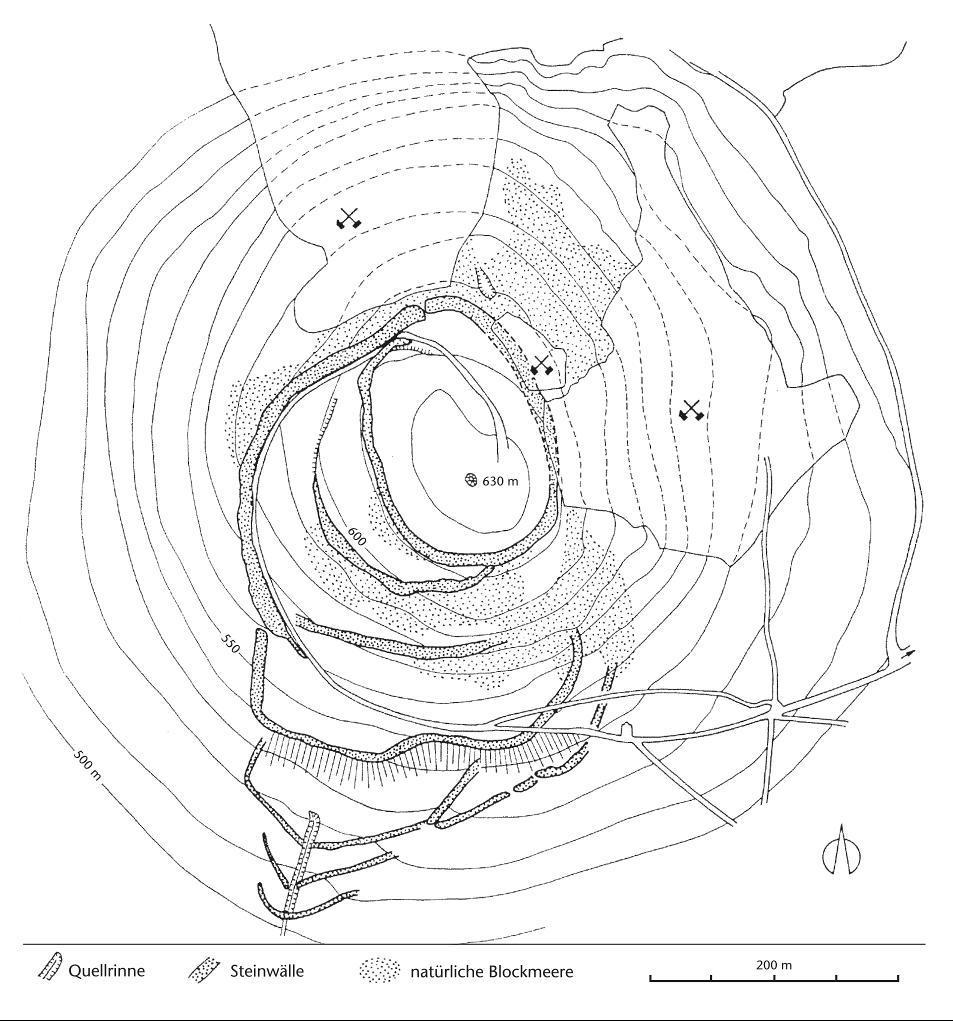 12_41_Abb1: Grundrissplan der Wälle auf dem Öchsen (nach Bahn 1994b).