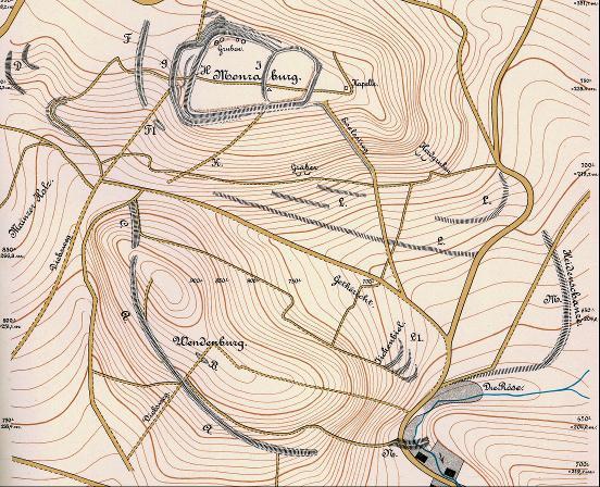 Plan der Befestigungsanlagen um die Monraburg nach P- Zschiesche von 1886.