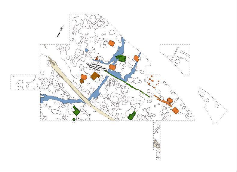 Plan des 1994/95 ausgegrabenen Teils der Wüstung Hauenthal mit Kennzeichnung der wichtigsten Befunde der Siedlungsphasen (nach Müller 2002).