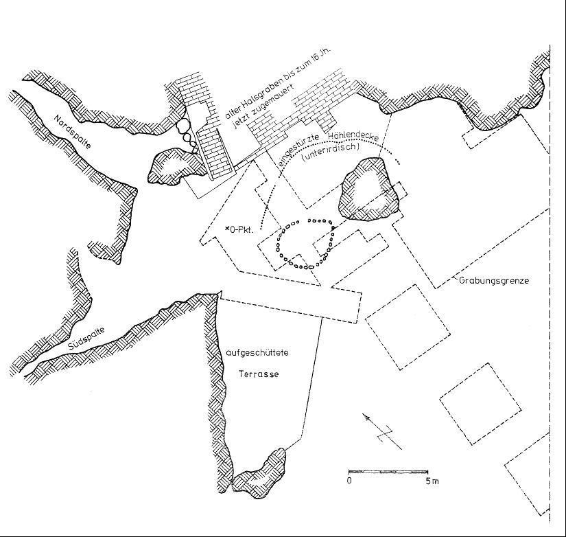 Grundriss und Profil der Ilsenhöhle bei Ranis (nach Großmann 2002).