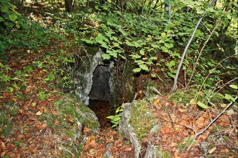 Der Einstieg zur schwer zugänglichen Franzosenhöhle bei Wernburg.