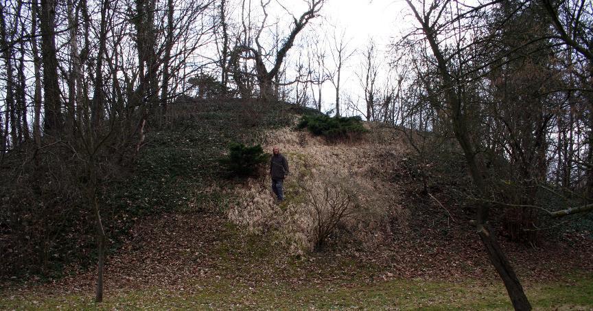 Ein mächtiger Hügel ist der heute noch sichtbare Rest von Burg Arnshaugk.