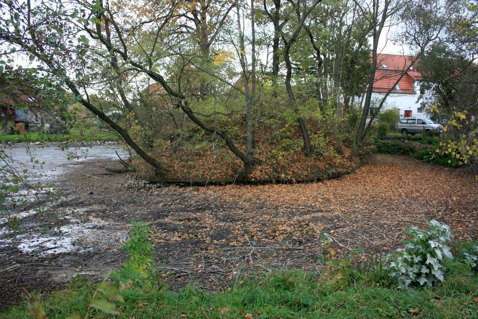Diese inselartige Erhebung bildet die Reste der mittelalterlichen Wasserburg Döhlen.
