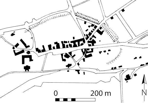 Grundrissplan von Ettersburg mit der Ortsbefestigung (nach Timpel/Grimm 1975).