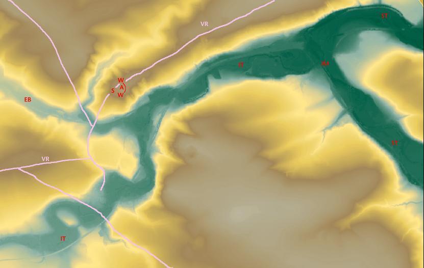 Topographische Situation der Ilm- Saale-Mündung zwischen Bad Sulza und Großheringen: Wall (W), Plateau (A), via regia (VR), Saaletal (ST), Ilmmündung (IM), Ilmtal (IT) und Emsenbach (EB).
