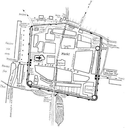 Lageplan der Tore der Stadtbefestigung von Neustadt/ Orla.