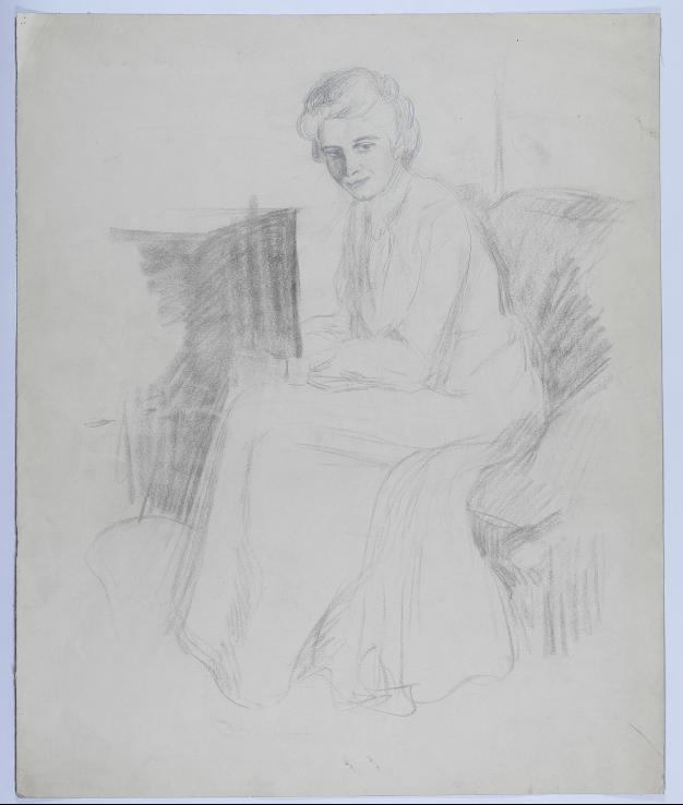 Skizze einer sitzenden Frau