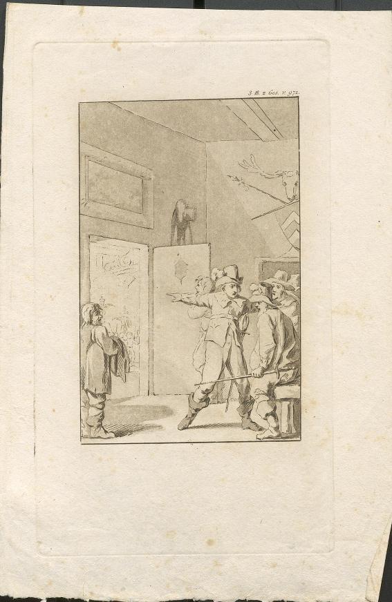 Ein Mann zeigt zur Tür