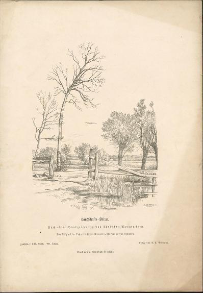 Landschafts-Skizze nach einer Handzeichnung von Christian Morgenstern