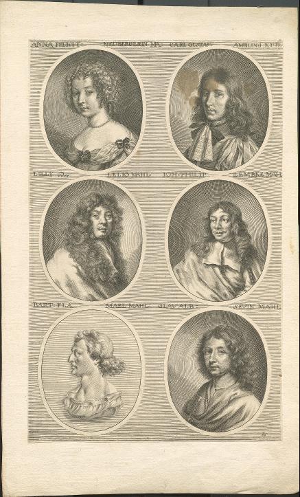Sechs Porträts in ovalen Rahmen