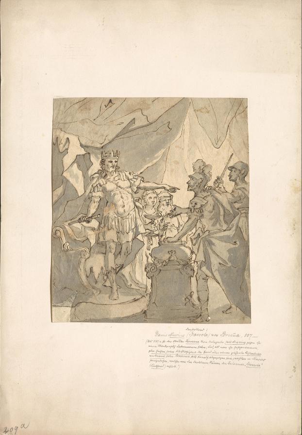 Gaius Mucius Scaevola vor dem Etruskerkönig Lars Porsenna während der Belagerung Roms