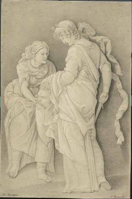 Judith versenkt das Haupt des Holofernes in einen Beutel