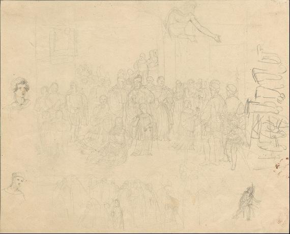 Skizzen mit Kirchenvertretern