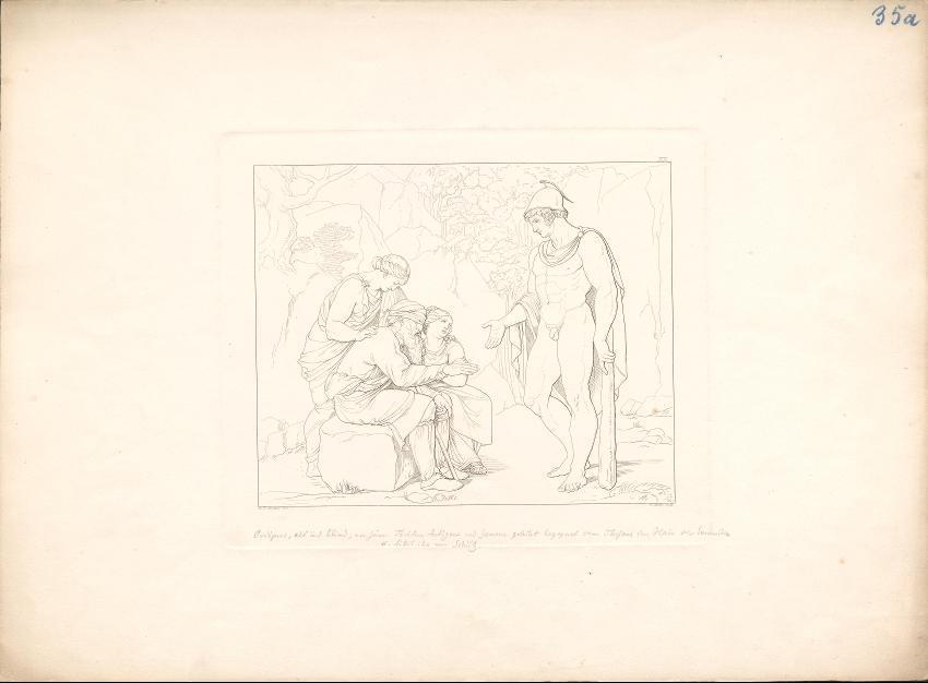 Der blinde Ödipus mit seinen Töchtern Antigone und Ismene begegnet Theseus